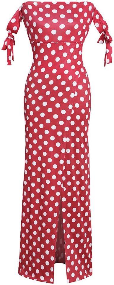 Long Dresses For Girls Off Shoulder Dot Print Dress Elegant Sleeveless Long Dress For Anniversary,Party,Valentines Day Red,L