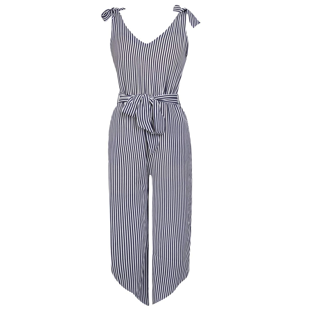 fea37714900 BELONGSCI Women Outfit Sleeveless Shoulder Bandage Waistband Sexy V-Neck  Wide Leg Long Jumpsuit with Belt
