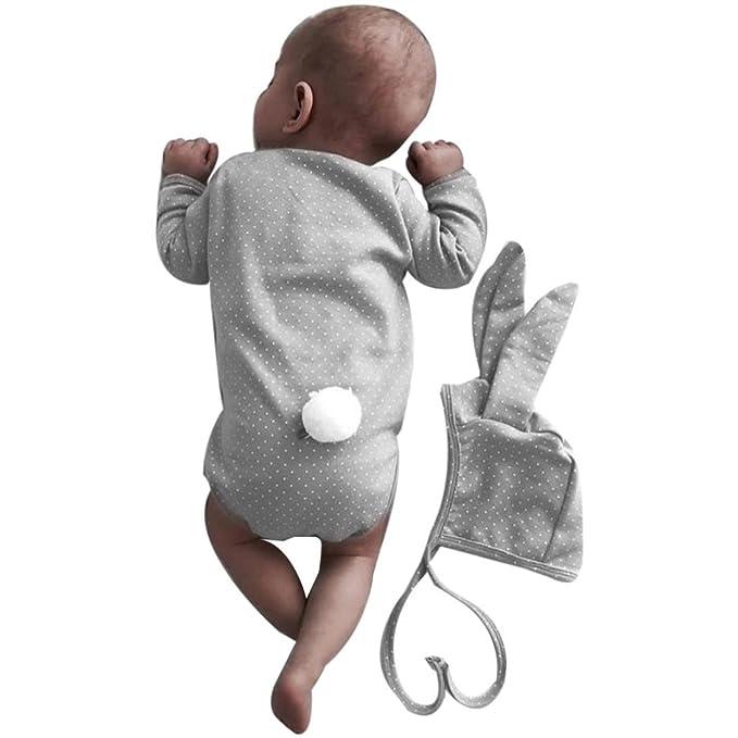 Baby Mädchen Jungen Langes Ohr Hase Strampler Overall Jumpsuit Spielanzug Body