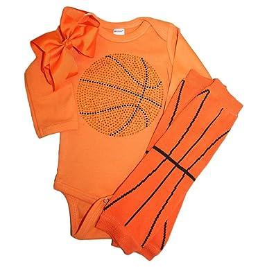 Amazon.com: Rhinestone bebé las niñas Baloncesto Naranja ...