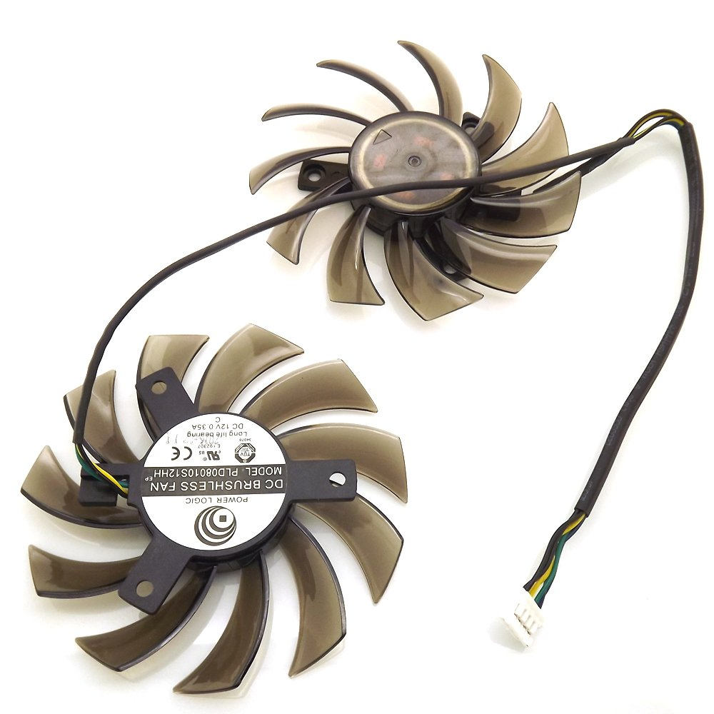 Replacement Video Card Cooling Fan For GTX 560 GTX570 GTX580 R6770 R6870 R6950 Twin Frozr II Graphics Card Fan PLD08010S12HH 12V 0.35A 75mm 4 Pin
