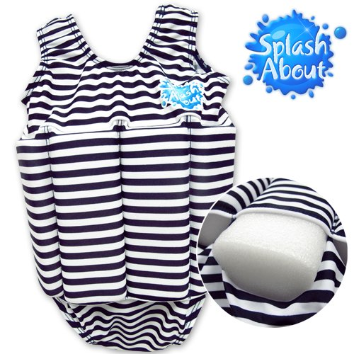 Splash About Float Suit with Adjustable Buoyancy Swimwear, Navy & White Stripe, 2 to 4 Years A-arm Splash