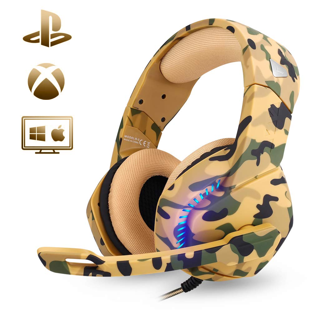 PHOINIKAS Stereo 7.1 Sound 3.55mm Gaming Headset for PS4 Xbox One Laptop PC Controller Nintendo Switch Games, USB Gaming Headset Noise Cancelling Headphones with Mic LED Light Bass Surround Camo