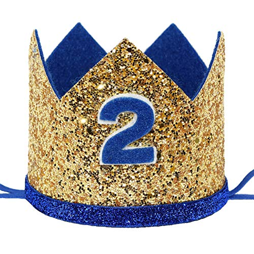 Maticr Shiny 2nd Birthday Crown Baby Boy Prince Headband Party Supplies (Large Gold Royal -