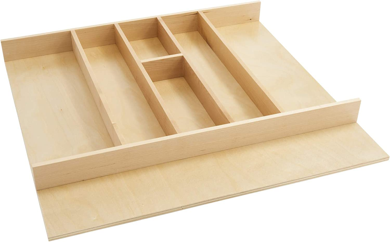 Rev-A-Shelf 4WUT-3SH 24-Inch Shallow Trimmable Wooden Kitchen Drawer Divider Utility Holder Cutlery Tray Organizer Insert with 7 Slots, Maple