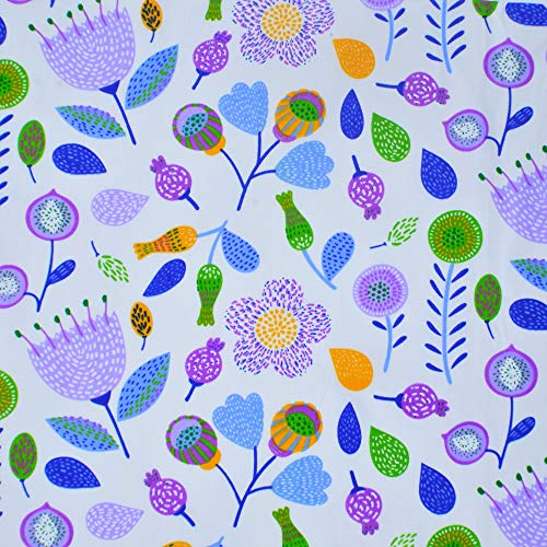 iNee Purple Flower Cotton Sewing Fabric by The Yard, 100% Cotton, 2 Yards, Purple ()