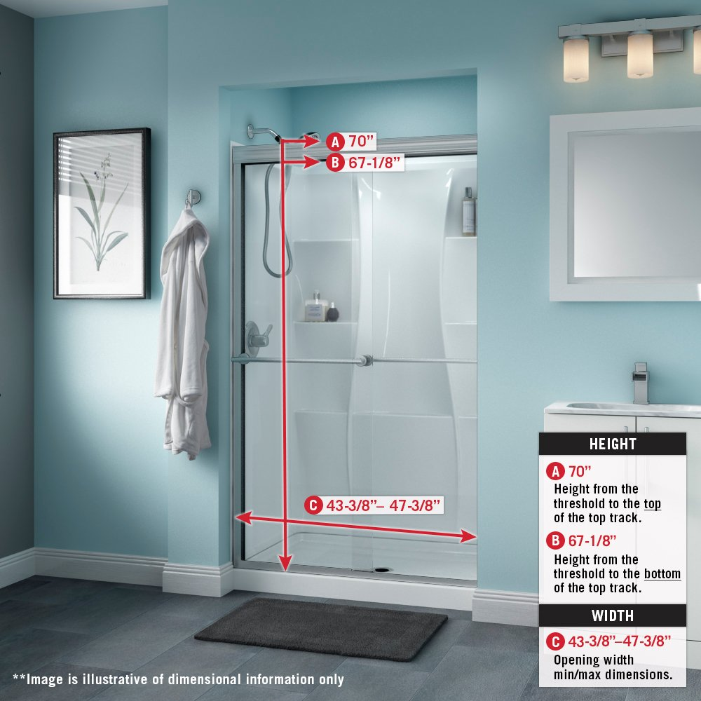Delta Shower Doors Sd3276445 Linden 48 X 70 Semi Frameless Traditional Sliding Door In Chrome With Clear Glass Com