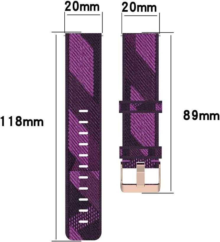 Remplacement Bande Watch Remplacement Montre 20 mm Stripe Weave Nylon Poignet Bracelet Bande for Garmin Venu, Vivomove 3, VivoActive 3, Forerunner 245/645 (Gray) (Color : Purple) Red