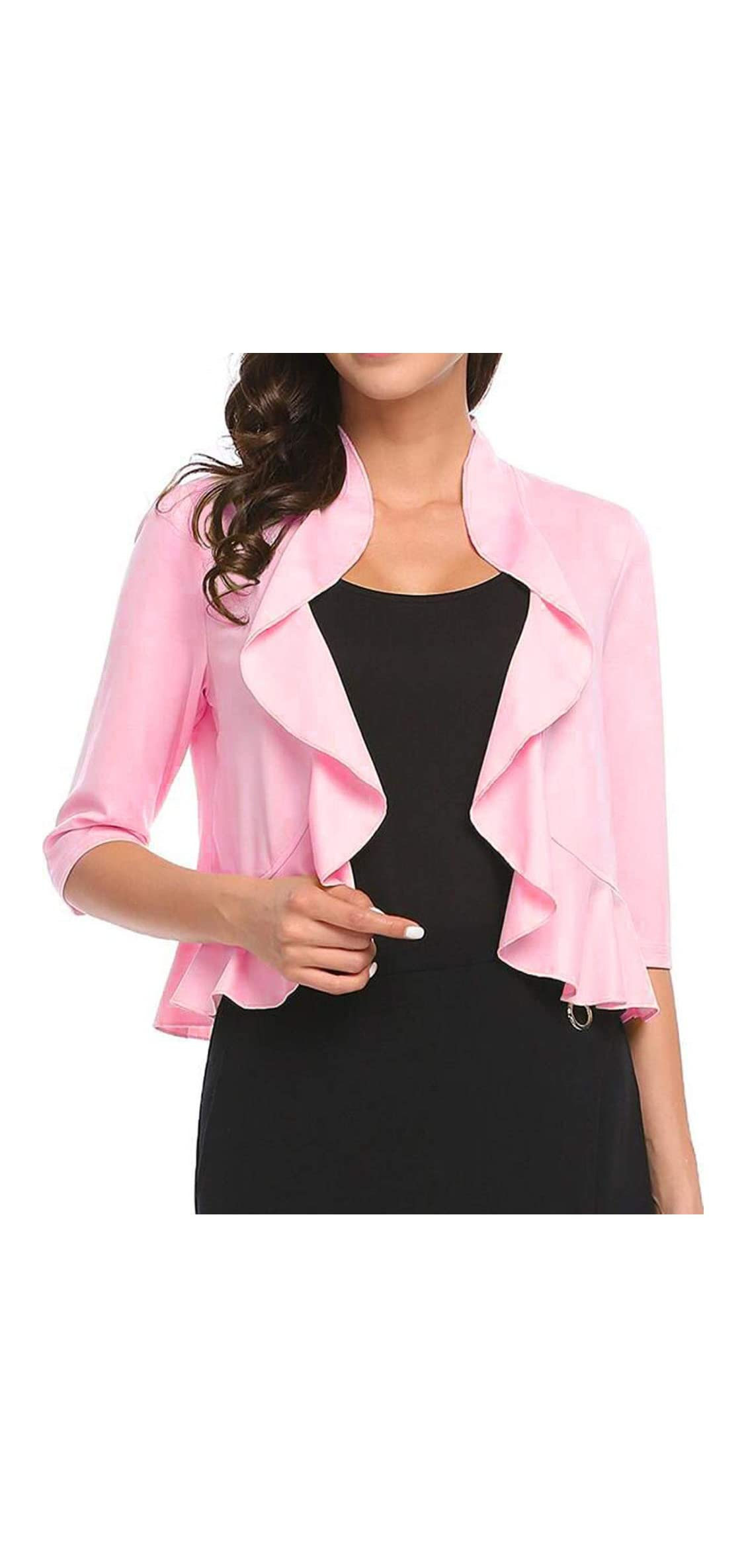 Women's Open Front Cropped Cardigan / Sleeve Casual Shrugs