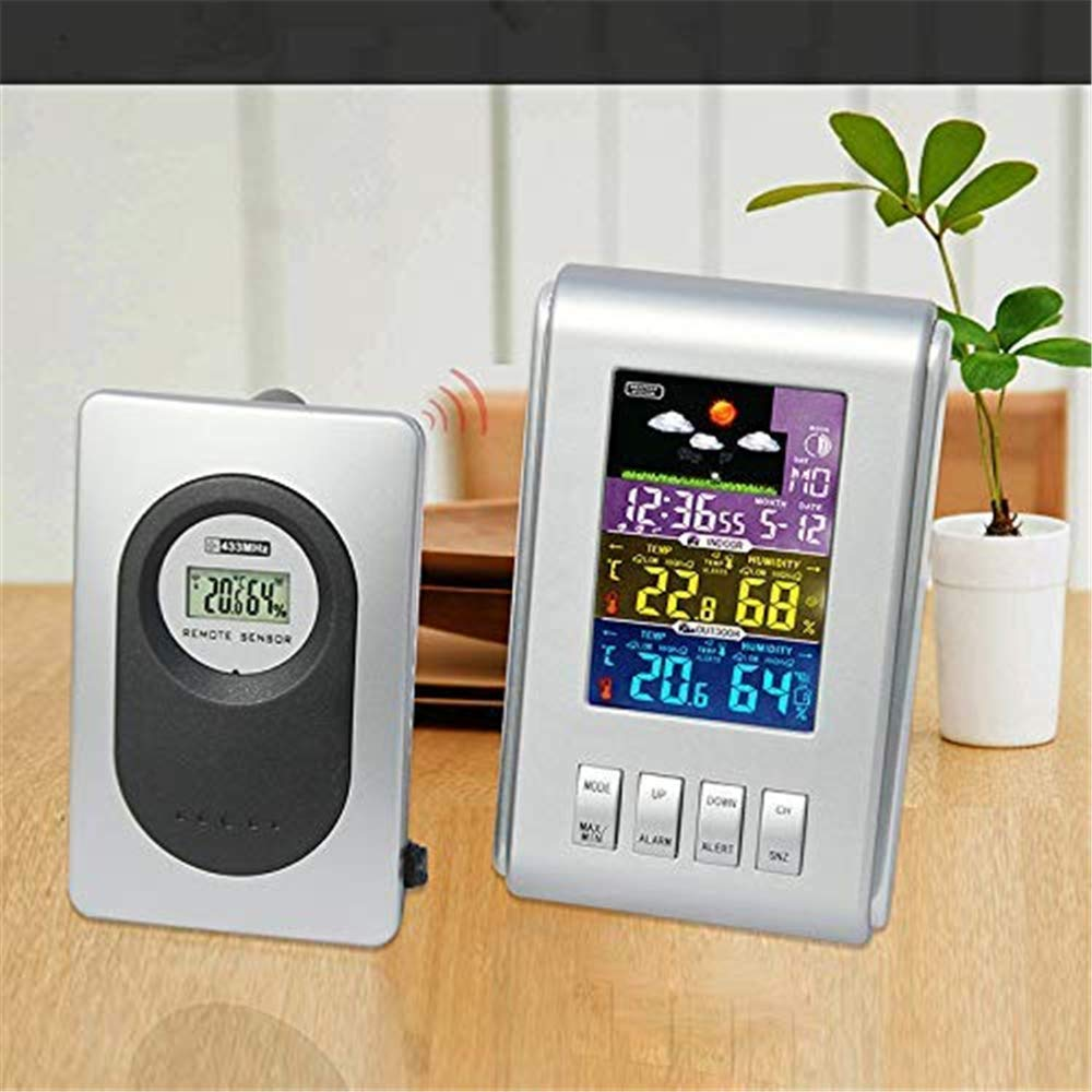 Barry Century Wireless Weather Forecast Station,Multifunctional Color Screen Digital Calendar Electronic Clock Remote Outdoor External Sensor,Suitable for Home/Office