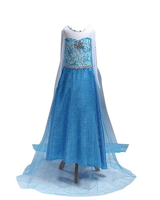 Vestido Elegante De Gala Boda Fiesta Para Niñas Vestido Flor Brillante Ceremonia Con Lentejuelas 1621Azul 100