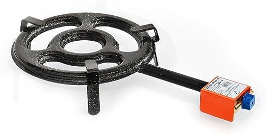 Paella Grabadora 30 cm Anillo Grabadora 12, 55 kW + Gas Manguera/reductor de presión (Hornillo de gas, hornillo, quemador de gas para ahumar, taburete, eléctrica, Lanza Grabadora Paella Hornillo de gas, embutido