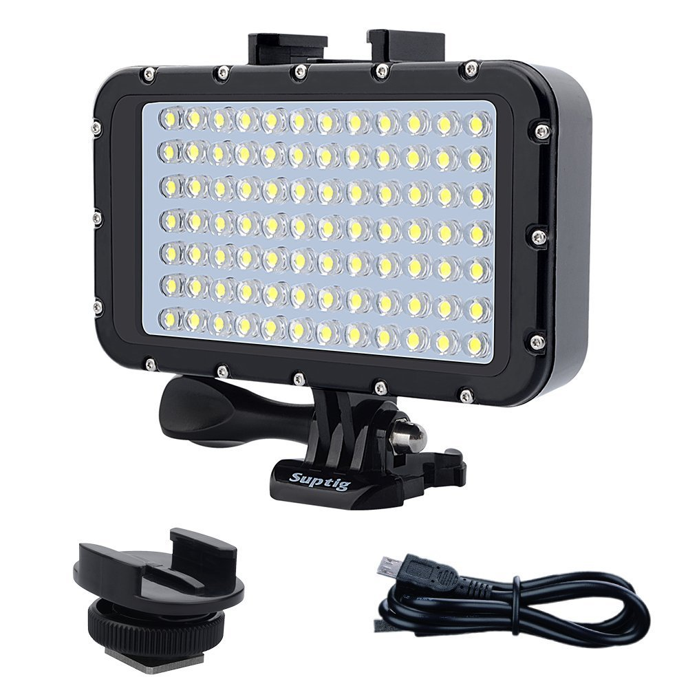 Suptig Underwater Lights Dive Light 84 LED High Power Dimmable Waterproof LED Video Light Waterproof 164ft(50m) for Gopro Canon Nikon Pentax Panasonic Sony Samsung SLR Cameras by Suptig