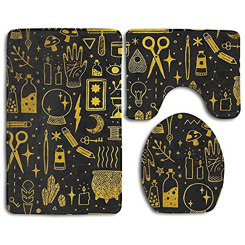 HUEH HUFW Witch Magic Bathroom Rug Mats Set Classic 3 Piece Non Slip Rug Set Bath Rug,Contour Mat,Lid Cover For Toilet Kitchen (Witch Bathroom Door Cover)
