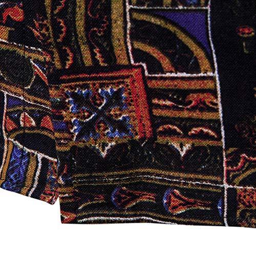 Multicolore Homme Tops 2 Sweat Longues sanfashion Col Mode Hawaii Imprime Revers Florale Patchwork Chemise Shirt Attache Manches qUZUd
