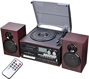 AW Classic Bluetooth Record Player System w/ 2 Speakers 3-Speed Stereo Turntable System CD/Cassette Player AM/FM