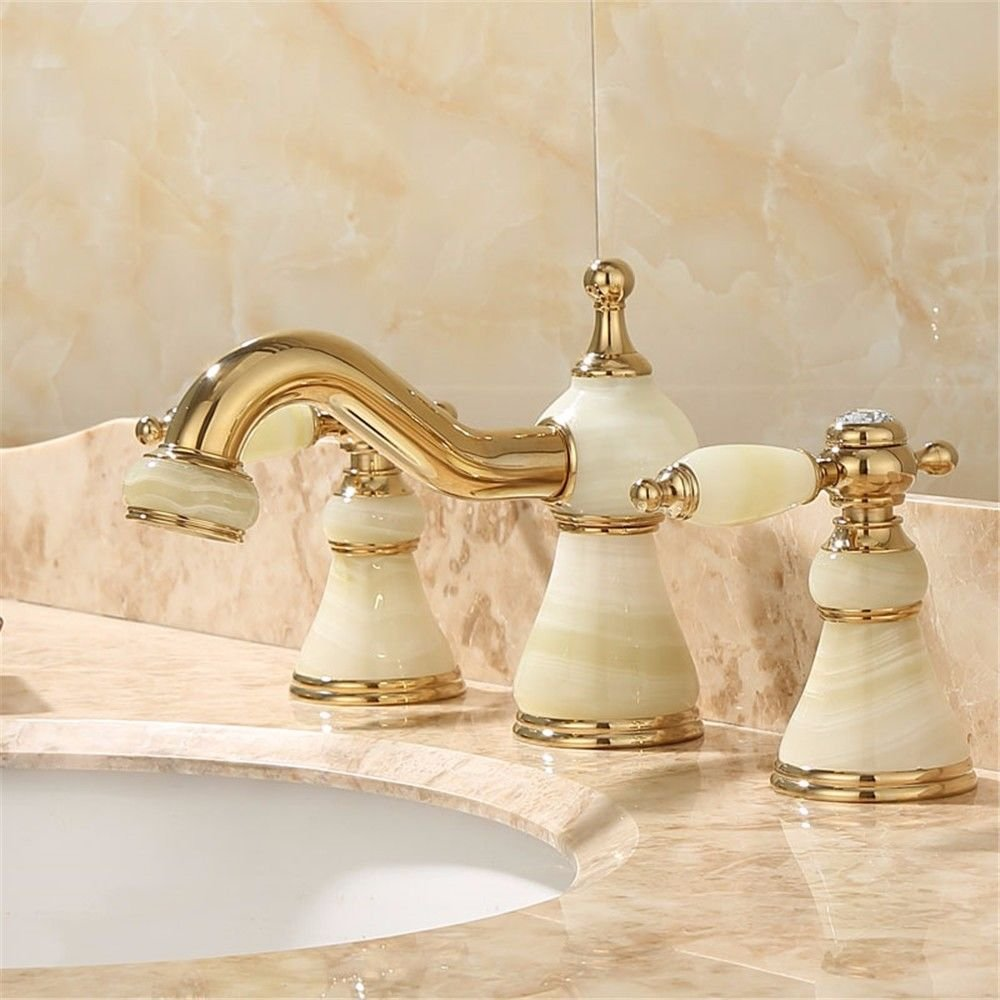 Guoke Two Of The Three Holes A Decent Tub Faucet Hot And Cold Full Copper Bathroom Sink Basin Faucet Hot And Cold Brass Chrome Plated Stainless Steel Faucet V4