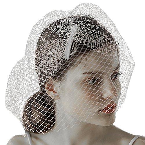 Bridal Wedding Hat with Veil Vintage White Fascinator Hats for Women