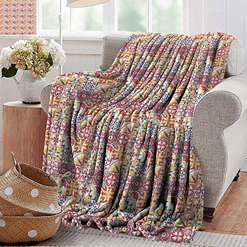 (PearlRolan Throw Blanket,Moroccan,Italian Culture Inspired Floral Elements Western Civilization Ornamental Pattern,Multicolor,Sofa Super Soft, Plush, Fuzzy Microfiber Throw Reversible,Comfy 30