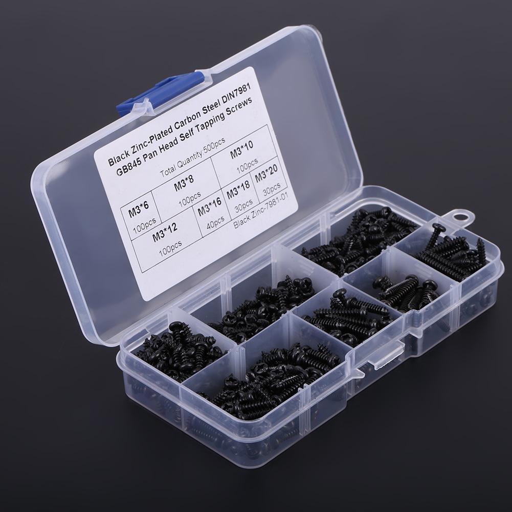 Carbon Steel 500 Pcs M3 Kit de Tornillos de Cabeza de Bot/ón Cruzada de Metal con Caja de Pl/ástico