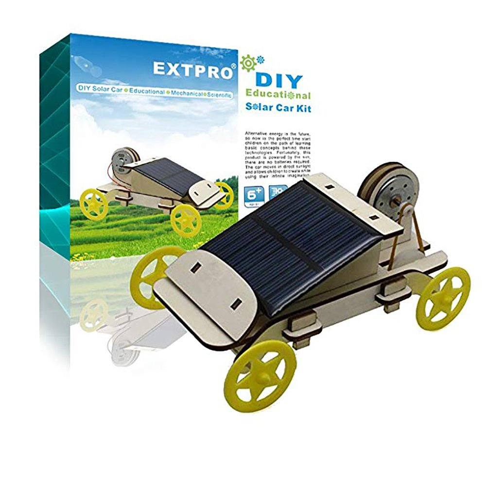 Extpro Wood Solar Car DIY Assemble Toy Set Solar Powered Car Kit Science Educational Environment friendly Toys for Kids Students