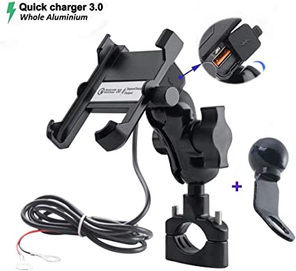 Universal Waterproof Motorcycle Cell Phone Handlebar Mount Holder USB Charger
