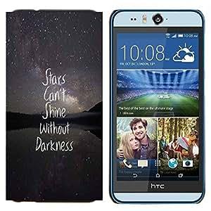 YiPhone /// Prima de resorte delgada de la cubierta del caso de Shell Armor - protagoniza la oscuridad nocturna texto cita inspiradora - HTC Desire Eye M910x