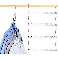 Coat Hanger, HOME-MART 4 Pack Space Saving Hanger, Magic Metal Cloth Hangers, Closet Space Saver Wardrobe Clothing Magic…