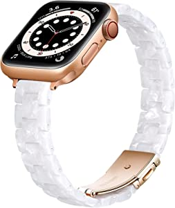 OUHENG Slim Resin Strap Compatible with Apple Watch Bands 40mm 38mm 44mm 42mm, Lightweight Thin Band with Metal Buckle for iWatch SE Series 6/5/4/3/2/1 (Pearl White/Rose Gold, 40mm 38mm)