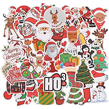 OOTSR 50 pcs Cute Waterproof Stickers of Christmas Elements Funny Gift Decals for Decorating Handbag Schoolbag Water Bottle Office Desk Door Window Glass Laptop Cars Motorcycle Bicycle Skateboard