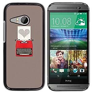 Be Good Phone Accessory // Dura Cáscara cubierta Protectora Caso Carcasa Funda de Protección para HTC ONE MINI 2 / M8 MINI // Heart Writing Love Writer Grey