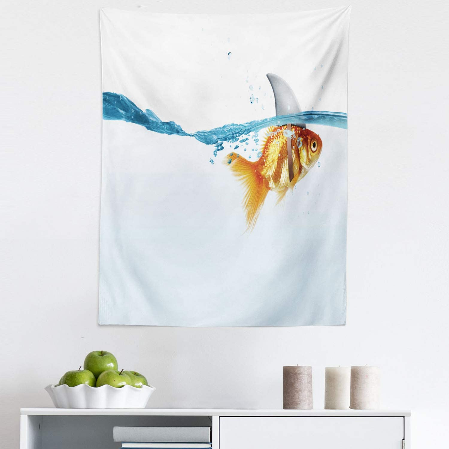 """Lunarable Shark Tapestry, Goldfish in Water with Shark Fin Scary Predators Tricky Humor Environment Fun Image, Fabric Wall Hanging Decor for Bedroom Living Room Dorm, 23"""" X 28"""", Orange Blue"""