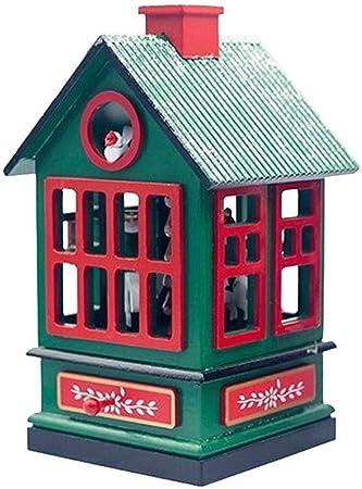 Caja de música Caja musical de la casa de Navidad, caja de música de Navidad de la casa de madera for niños, niñas, amigos, regalo (Color : Azul): Amazon.es: Hogar