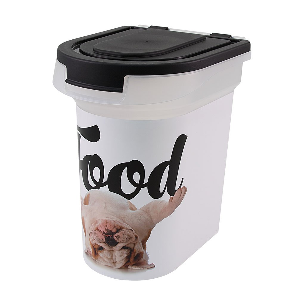 Paw Prints 37716 15 lb. Pet Airtight Food Storage Container, Includes Snap-in 1 Cup Measured Scoop, 12.5 x 9.75 x 13.38, 12.5'' L x 9.75'' W x 13.38 H, Carlos The Bulldog Design
