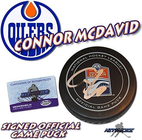 Autographed NHL Pucks Connor McDavid Signed Puck 2017 INAUGURAL w COA #97