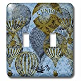3dRose lsp_99378_2 Vintage Blue Damask Hot Air Balloons French Art Double Toggle Switch