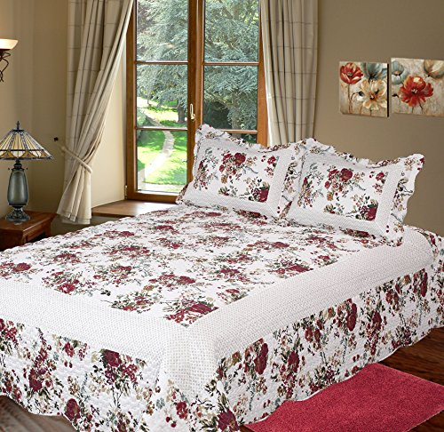 Patch Magic Bella Rosa Quilt Set with 2 Shams, King, Tusc...