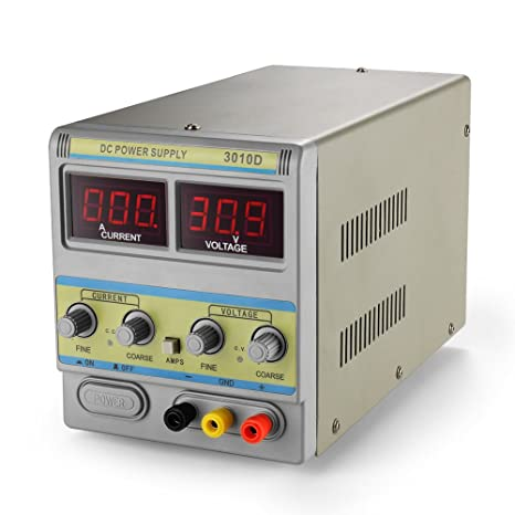 Flexzion DC Power Supply Variable 30V 10A Precision Adjustable 110V//220V Regulated Switching Circuit Digital Display Work Bench Power Supply with Alligator Clip AC Cable Lab Grade Equipment