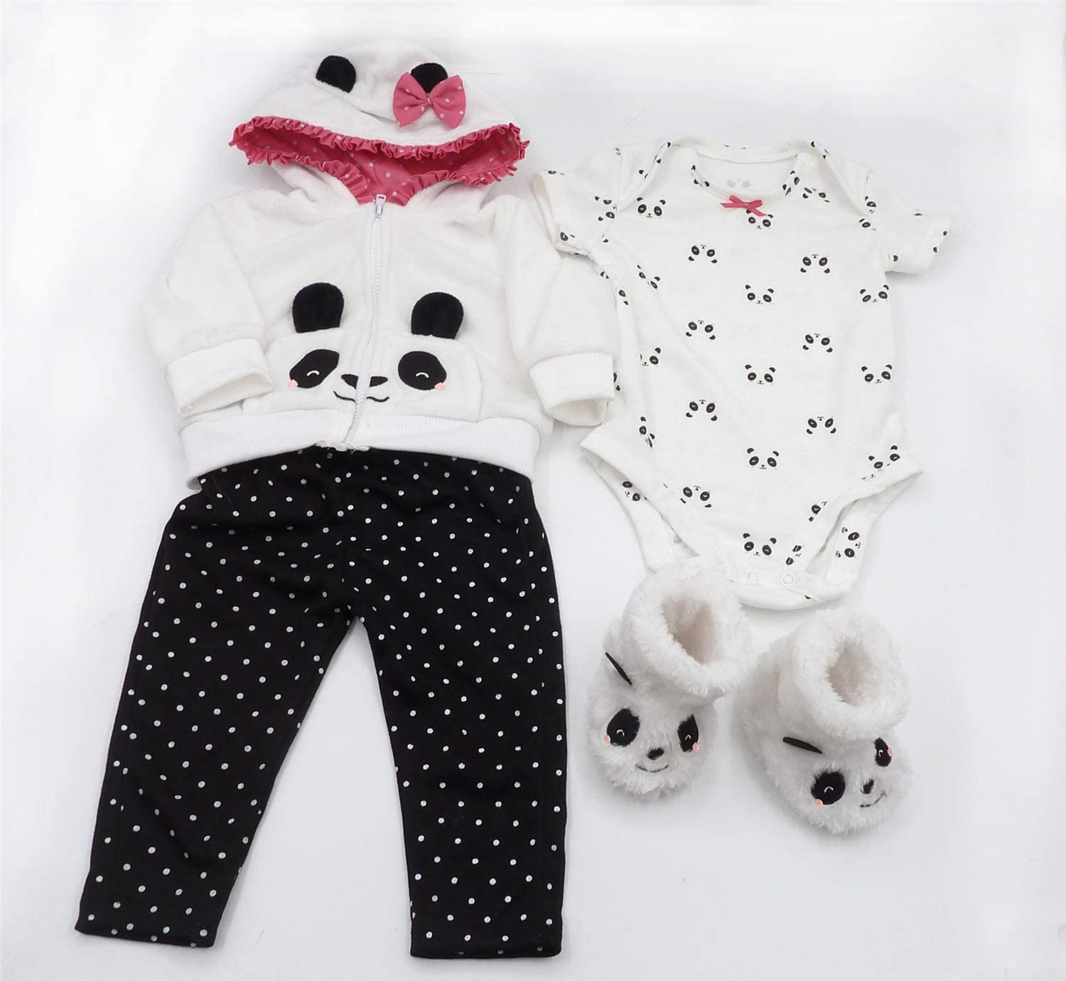 Zero Pam Real Life Reborn Toddler Girl Panda Clothes Accessories 4 Pieces Outfit Set Matching for 24 inch Reborn Toddler Dolls Outfit
