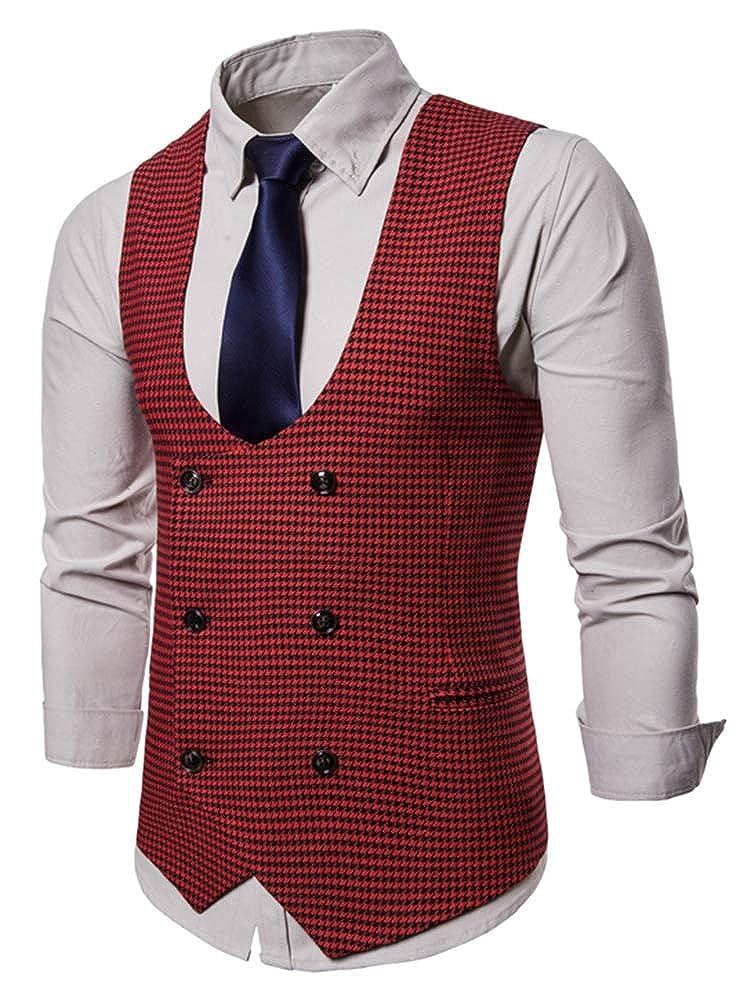 PROMLINK Mens Suit Vest Formal Business Tuxedo Vests Slim Fit Jacket