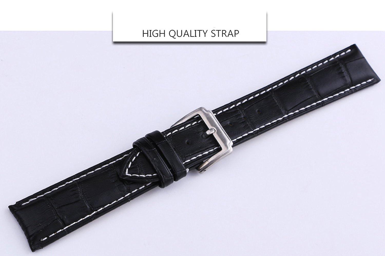 Pulsera de Cuero Vintage 18mm 20mm 22mm Correa de Reloj de Cuero de Repuesto, Adecuado para Reloj Deportivo Tradicional o Reloj Elegante, Cuero Unisex ...