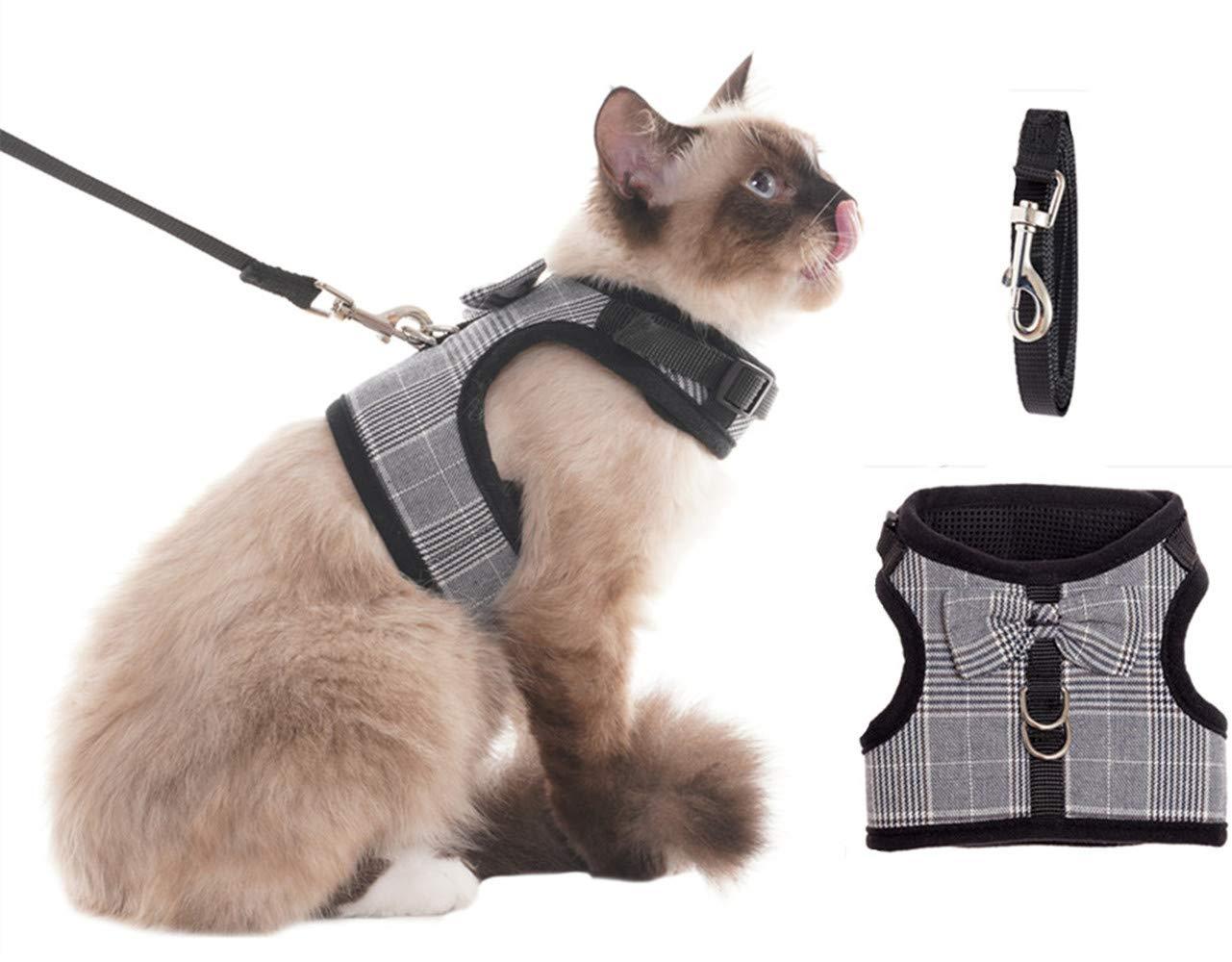 BINGPET Escape Proof Cat Harness - Adjustable Vest and Leash Set