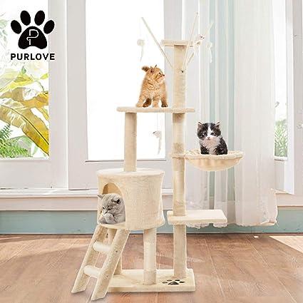 Centro de actividades para gatos, grande, 3 plataformas, poste rascador, color gris, de PURLOVE®: Amazon.es: Productos para mascotas
