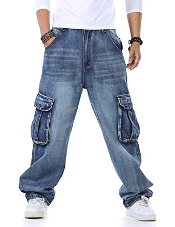 Pantalones Vaqueros Holgados de Hip Hop para Hombres Talla Grande 30-46 Bolsillos múltiples Pantalones Vaqueros de Carga para Hombres Joggers tácticos ...