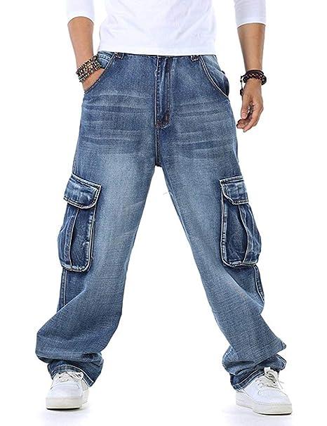 TongCart Pantalones Vaqueros Holgados de Hip Hop para Hombres Talla Grande  30-46 Bolsillos múltiples Pantalones Vaqueros de Carga para Hombres Joggers  ... b8e2b84e9028