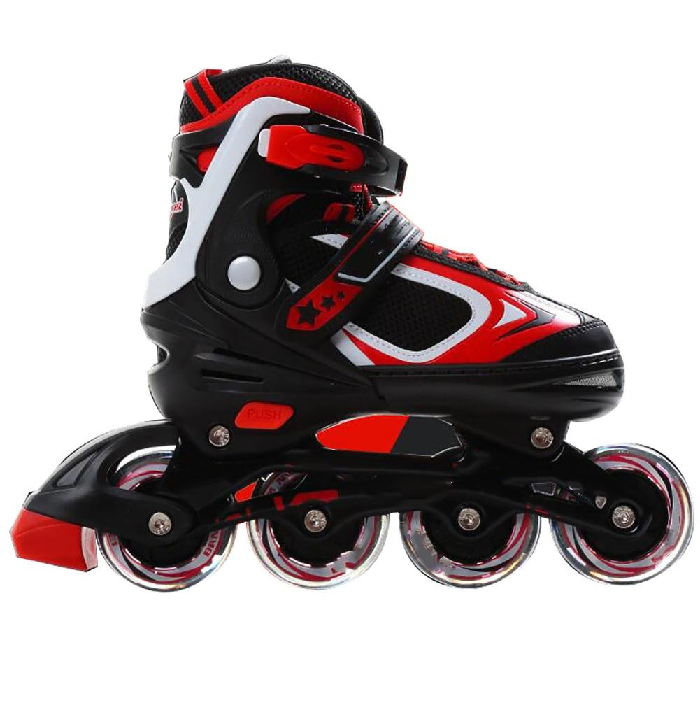 Inline Skates Adjustable PP Material PU wheels ABEC-7 Red , red , s by WY
