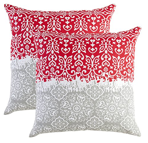 TreeWool, Cotton Canvas Marvel Accent Decorative Throw Pillowcases (2 Cushion Covers; 18 x 18 Inches; Red & Grey)