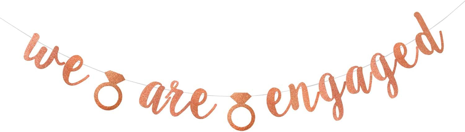 Engagement Details about  /We Are Engaged Banner Gold Decorations Bridal Shower Party Sign