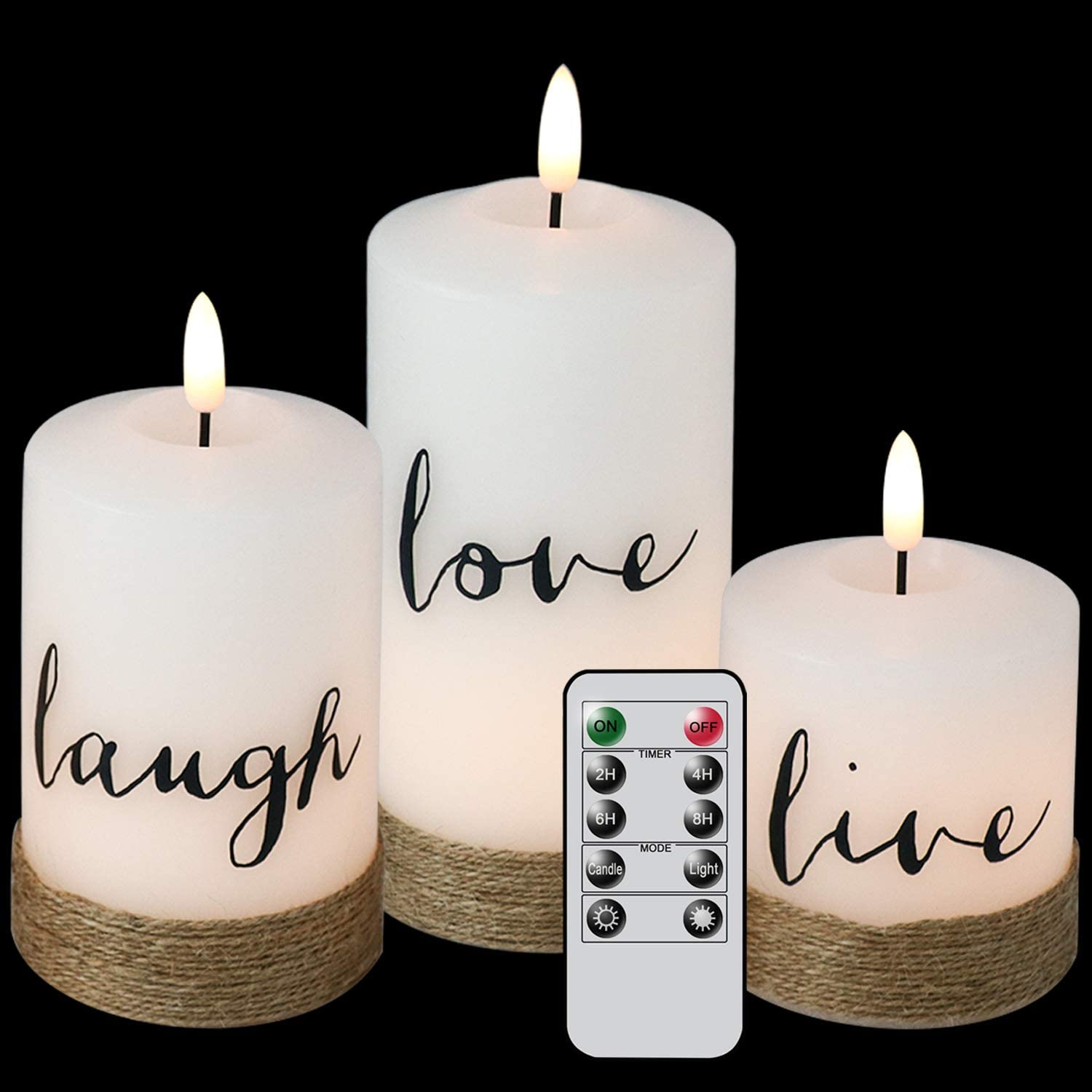 DRomance White Flickering Flameless Decal Candles with 6 Hour Timer, Set of 3 Battery Operated 3D Wick LED Pillar Candles Live Love Laugh Hemp Rope Christmas Decor Candles(3 x 4.7, 5.7, 6.7 Inches)