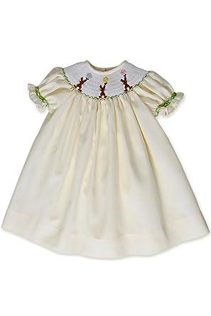 f7be27b933f3 Amazon.com: Baby Girls Hand Smocked Easter Bunny Bishop Dress Pastel ...